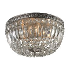 Flushmounts 4 Light Flushmount In Sunset Silver And Clear Crystal Glass