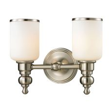 Bristol Way 2 Light Vanity In Brushed Nickel And Opal White Glass
