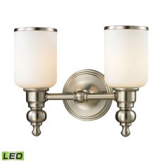 Bristol Way 2 Light Led Vanity In Brushed Nickel And Opal White Glass