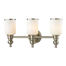 Bristol Way 3 Light Vanity In Brushed Nickel And Opal White Glass