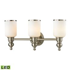 Bristol Way 3 Light Led Vanity In Brushed Nickel And Opal White Glass