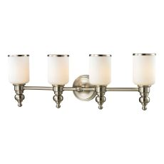 Bristol Way 4 Light Vanity In Brushed Nickel And Opal White Glass