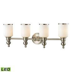 Bristol Way 4 Light Led Vanity In Brushed Nickel And Opal White Glass