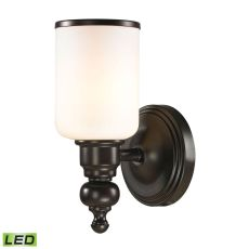 Bristol Way 1 Light Led Vanity In Oil Rubbed Bronze And Opal White Glass
