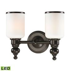 Bristol Way 2 Light Led Vanity In Oil Rubbed Bronze And Opal White Glass