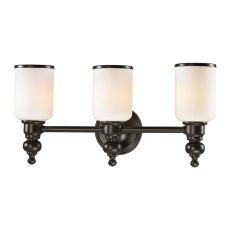 Bristol Way 3 Light Vanity In Oil Rubbed Bronze And Opal White Glass