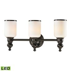 Bristol Way 3 Light Led Vanity In Oil Rubbed Bronze And Opal White Glass