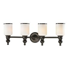 Bristol Way 4 Light Vanity In Oil Rubbed Bronze And Opal White Glass