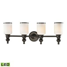 Bristol Way 4 Light Led Vanity In Oil Rubbed Bronze And Opal White Glass