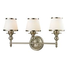 Smithfield 3 Light Vanity In Brushed Nickel And Opal White Glass