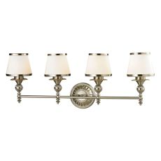 Smithfield 4 Light Vanity In Brushed Nickel And Opal White Glass