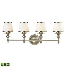 Smithfield 4 Light Led Vanity In Brushed Nickel And Opal White Glass
