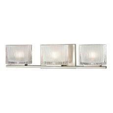 Chiseled Glass 3 Light Vanity In Brushed Nickel