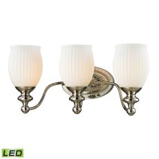 Park Ridge 3 Light Led Vanity In Polished Nickel And Reeded Glass