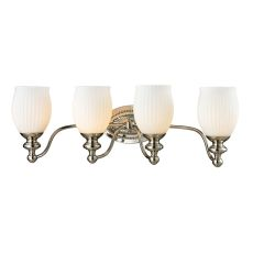 Park Ridge 4 Light Vanity In Polished Nickel And Reeded Glass