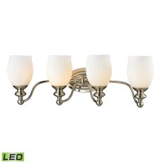 Park Ridge 4 Light Led Vanity In Polished Nickel And Reeded Glass