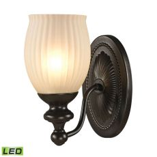 Park Ridge 1 Light Led Vanity In Oil Rubbed Bronze And Reeded Glass
