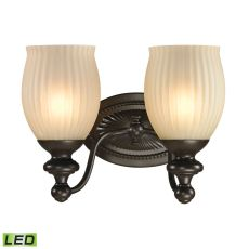 Park Ridge 2 Light Led Vanity In Oil Rubbed Bronze And Reeded Glass