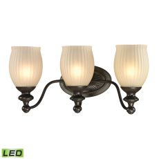 Park Ridge 3 Light Led Vanity In Oil Rubbed Bronze And Reeded Glass