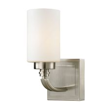 Dawson 1 Light Vanity In Brushed Nickel And Opal White Glass