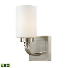 Dawson 1 Light Led Vanity In Brushed Nickel And Opal White Glass