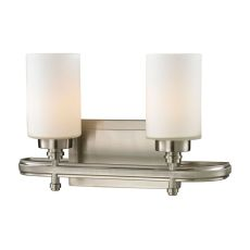 Dawson 2 Light Vanity In Brushed Nickel And Opal White Glass