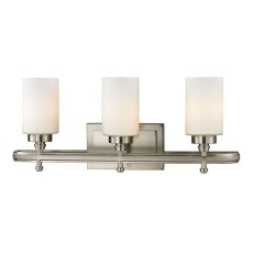 Dawson 3 Light Vanity In Brushed Nickel And Opal White Glass