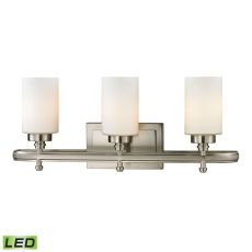 Dawson 3 Light Led Vanity In Brushed Nickel And Opal White Glass