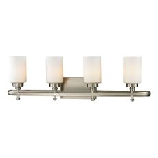 Dawson 4 Light Vanity In Brushed Nickel And Opal White Glass