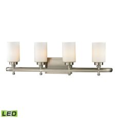 Dawson 4 Light Led Vanity In Brushed Nickel And Opal White Glass
