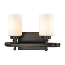 Dawson 2 Light Vanity In Oil Rubbed Bronze And Opal White Glass