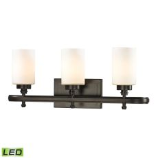 Dawson 3 Light Led Vanity In Oil Rubbed Bronze And Opal White Glass