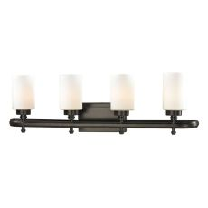 Dawson 4 Light Vanity In Oil Rubbed Bronze And Opal White Glass