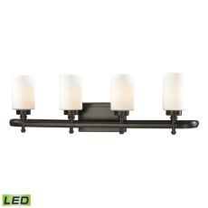 Dawson 4 Light Led Vanity In Oil Rubbed Bronze And Opal White Glass