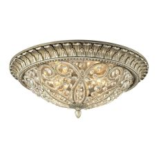 Andalusia 4 Light Flush Mount In Aged Silver