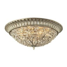 Andalusia 8 Light Flush Mount In Aged Silver