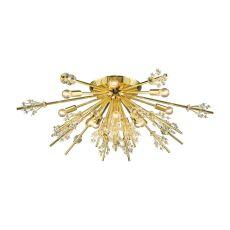 Starburst 12 Light Semi Flush In Polished Gold
