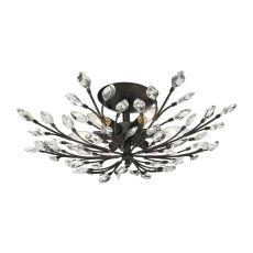 Crystal Branches 6 Light Semi Flush In Burnt Bronze