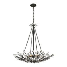 Crystal Branches 8 Light Pendant In Burnt Bronze