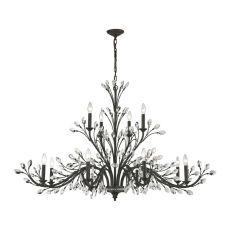 Crystal Branches 12 Light Chandelier In Burnt Bronze