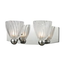 Lindale 2 Light Vanity In Polished Chrome And Scalloped Glass