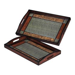 Set Of 2 Checked Trays