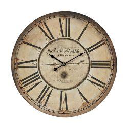 Carte Postal Clock With Antique Cream Metal Frame