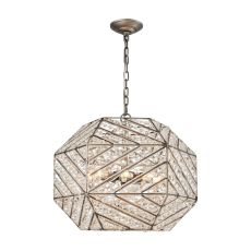 Constructs 8 Light Chandelier In Weathered Zinc