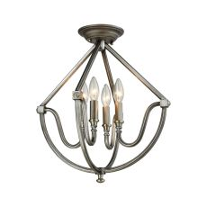 Stanton 4 Light Semi Flush In Weathered Zinc With Brushed Nickel Accents