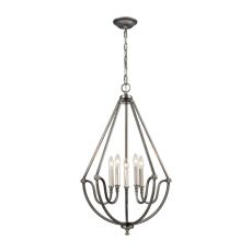 Stanton 5 Light Chandelier In Weathered Zinc With Brushed Nickel Accents