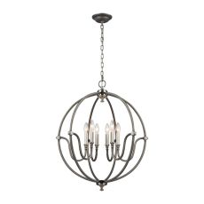 Stanton 6 Light Chandelier In Weathered Zinc With Brushed Nickel Accents