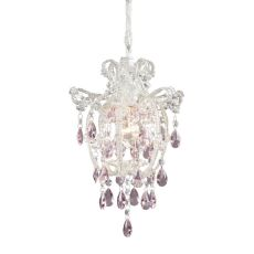 Elise 1 Light Pendant In Antique White And Pink Crystal