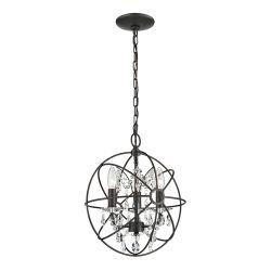 Restoration 3 Light Globe With Crystal Pendant