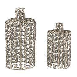 Set Of 2 Metal Work Vases